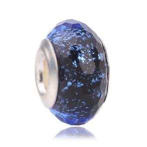 Silver Big Hole Blue Glass Lucky Bead for Jewelry Making DIY