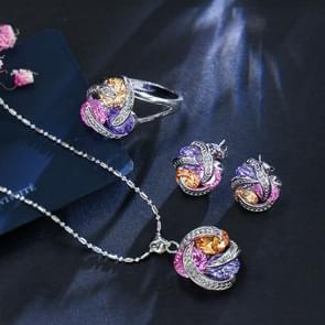 Mode Cubic Zirconia knoop oorbellen ketting ring set voor vrouwen  ring grootte: 7 (Multi-Color)