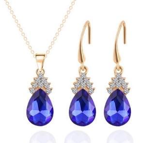 Fashion Diamond Dames Crystal Zircon Drop Ketting Earring Set (Blauw)