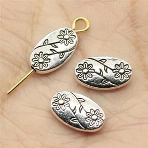 30 PCS Flower Charms Beads Antique Silver Color Oval Flower Charms Beads Small Hole Spacers Beads, Size: 13x9x5mm