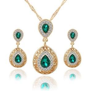 Vrouwen Crystal water drop hanger kettingen oorbellen sets (groen)