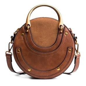 Circular Scrub PU Leather Women Bags Retro Handbag Shoulder Mini Bag(Brown)