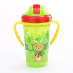 300ML Shock-resistant Baby Sippy Cups Kids Drinking Bottles Infant Children Learn Drinking Dual Handles Straw Juice Slid Feeding(Green)