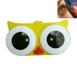 2 PC'S creatieve milieubescherming cartoon dier Big eye contact lens doos (gele uil)
