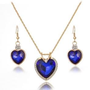 Elegante hartvormige Crystal Zirconia ketting oorbellen sieraden set voor vrouwen (blauw)