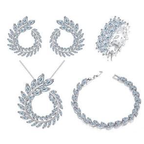 4 STKS/set Leaf shape Fashion CZ ketting Earring armband en ring sets  ring grootte: 7
