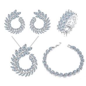 4 STKS/set Leaf shape Fashion CZ ketting Earring armband en ring sets  ring grootte: 9