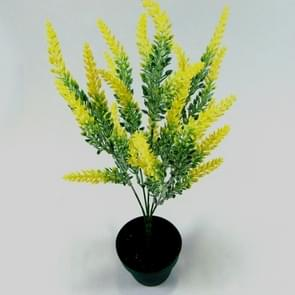Romantic Lavender Flower Silk Artificial Flowers Fake Flowers Grain Decorative Simulation Plants(Yellow)