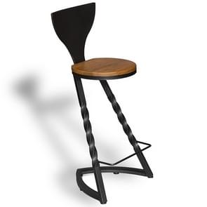 Modern Minimalist Fashion Wrought Iron Wood Home Creative High Bar Chair(With Backrest)