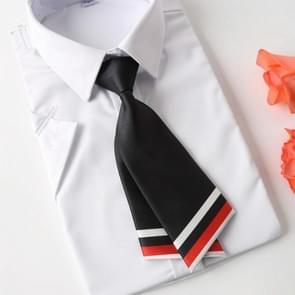 College stijl korte strikje Dames dubbel mes vorm shirt strikje (zwart)