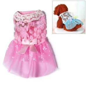 AB060 Lovely Cat Dress Lace Wedding Skirts Dresses for Pets Party Costume, Size:XS(Pink)