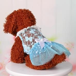AB060 Lovely Cat Dress Lace Wedding Skirts Dresses for Pets Party Costume, Size:S(Blue)