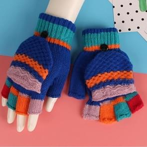Winter Flip Gloves Candy Color Half Finger Wool Knitted Warm Gloves Children Gloves, Size:8-15 Years Old(Royal Blue)