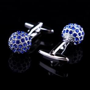 Blue Crystal Ball shirt cufflinks for mens(Blue)
