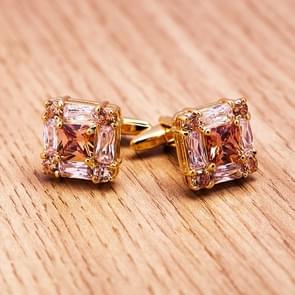 SAVOYSHI Luxury gold gemstone cufflinks men and women French cufflinks(Gold)