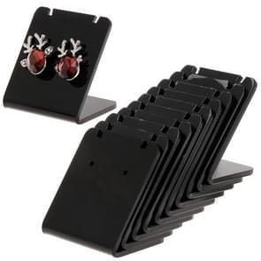 10 Pcs/Set Earrings Shelf Display Stand Holder L Shape Rectangle Acrylic Professional Ear Stud Jewelry Show Bracket Rack Show(Black)