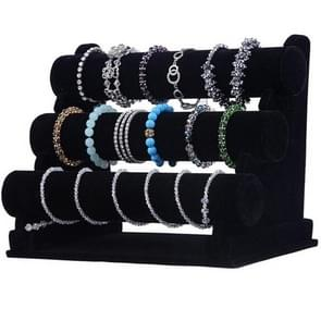 3-Tier Jewelry Bracelet Watch Bangle Display Holder Stand Showcase T-bar Stand Rack Bracelet Holder, Size: 305x175x250mm(Black)
