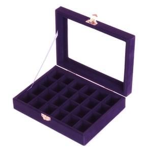 Jewelry Box 20x15 x 4.5cm Jewelry Tray Holder Storage Jewelry Organizer 24 Grids Ring Ear Studs Jewelry Box
