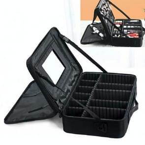 Make-up tas borduurwerk Manicure Draagbare Clapboard Toolbox  Grootte: Groot met spiegel