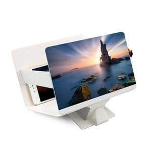 8 inch Universal Mobile Phone 3D Screen Amplifier HD Video Magnifying Glass Stand Bracket Holder(White)