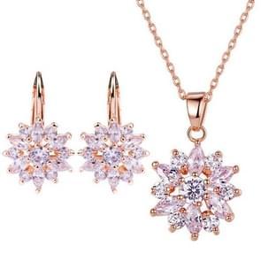 Mode bloem Cubic Zirkonia Sieraden sets voor vrouwen (Champagne goud)