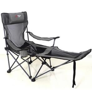 Portable Outdoor Folding Recliner Wild Fishing Camping Leisure Stool Stainless Steel Folding Beach Chair Furniture(Black Khaki)