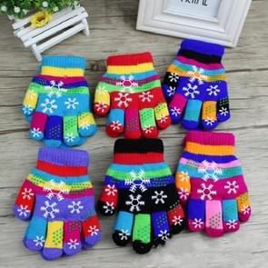 2-4 jaar oude winter kleur gedrukte rubber Snowflake patroon kinderen handschoenen dubbele Thicken warme gebreide vijf vingers handschoenen, willekeurige kleur levering