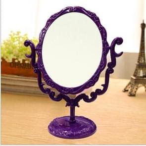 Desktop Comestic Makeup Mirror Table Rotatable Gothic Vintage Rose Butterfly One Side Mirror, Size:Large(Purple)