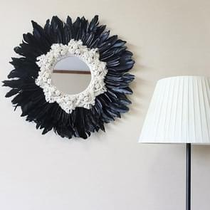 Modern Handmade Tapestry Feather Glass Mirror Wall Decorative Mirrored(Black A)