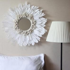 Modern Handmade Tapestry Feather Glass Mirror Wall Decorative Mirrored(White A)