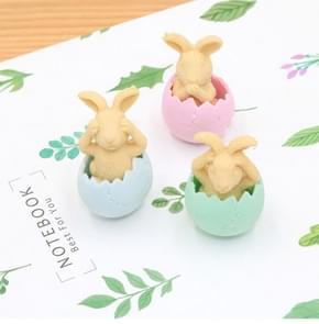 GZ173 10 PCS Cute Cartoon Eggshell Rabbit Eraser Office School Supplies Student Stationery Random Color Delivery
