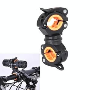 360 lamphouder fiets zaklamp lamp clip bevestiging beugel (zwart oranje)