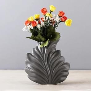 Moderne woonkamer Home Decoraties Witte Keramische Leaf Model Porseleinen vaas  Kleur:Donkergrijs S