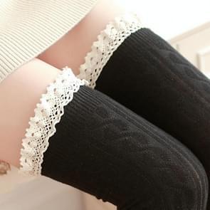 Lace hoge knielange buis vrouwen sokken  grootte: One size (zwart)