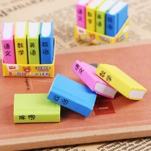 12 PCS Creative Cute Cartoon Book Styling Eraser Office School Supplies Student Stationery Random Color Delivery