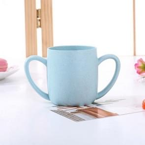 2 PCS  Wheat Straw Double Ear Mug Healthy Mouth Cup(Blue )