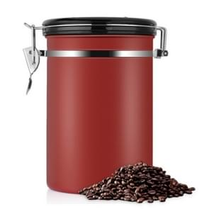 Coffee Container Stainless Steel Tea Storage Chests Black Kitchen Sotrage Canister Coffee Tea Caddies Teaware(Red)