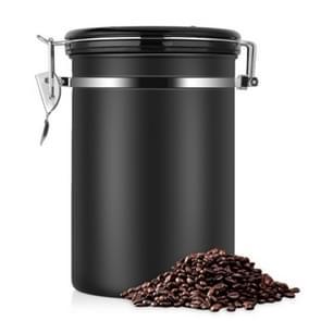 Koffie container RVS thee opberg kisten zwarte keuken Sotrage Canister koffie thee Caddies Teaware (zwart)
