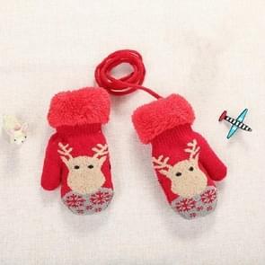 Rode schattige elanden patroon winter Double-Layer plus Velvet outdoor koud-proof kinderen handschoenen  grootte: 14 x 8cm