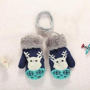 Donker blauwe schattige elanden patroon winter Double-Layer plus Velvet outdoor koud-proof kinderen handschoenen  grootte: 14 x 8cm