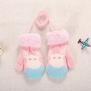 Roze wit elk schattig elk patroon winter Double-Layer plus Velvet outdoor koude-proof kinderen handschoenen  grootte: 14 x 8cm
