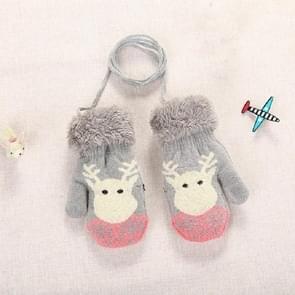 Grijze schattige elanden patroon winter Double-Layer plus Velvet outdoor koud-proof kinderen handschoenen  grootte: 14 x 8cm