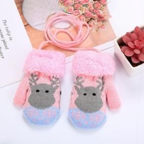 Roze grijs elk schattig elk patroon winter Double-Layer plus Velvet outdoor koude-proof kinderen handschoenen, grootte: 14 x 8cm