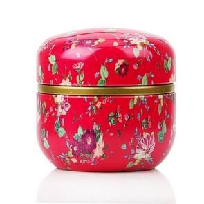 HOOMIN Tea Box Tea Jar Storage Holder Tea Caddies Matcha Container Mini Coffee Powder Organizer Cans Multifunction Round Metal, Color:Flowery
