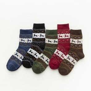 5 Pairs Men and Women Warm Christmas Design Casual Knit Wool Socks Party Supplies,Random Color Delivery