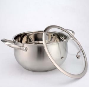 Verdikte bodem roestvrijstaal soep pot met dubbele handvat glas cover non-stick pan, grootte: 22cm