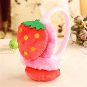 Cute Fruit Series Cold-proof Children Plush Warm Earmuffs(Pink Strawberry)