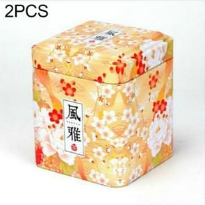 2 PC'S Chinese thee Caddies ijzer tin vak voor Candy biscuit cookie chocolade opbergdoos koffie kan Vintage opslag organisator (elegant)