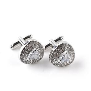 Popular cufflinks aristocratic diamonds hollow cufflinks(White)