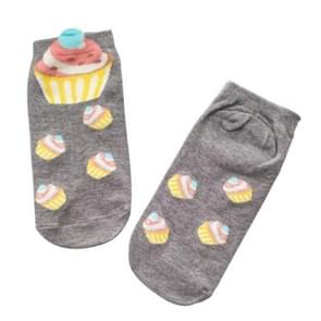 10 Pairs Cartoon Socks Lovely Sweet Cupcake Socks for Girls, Size:One Size(Gray)